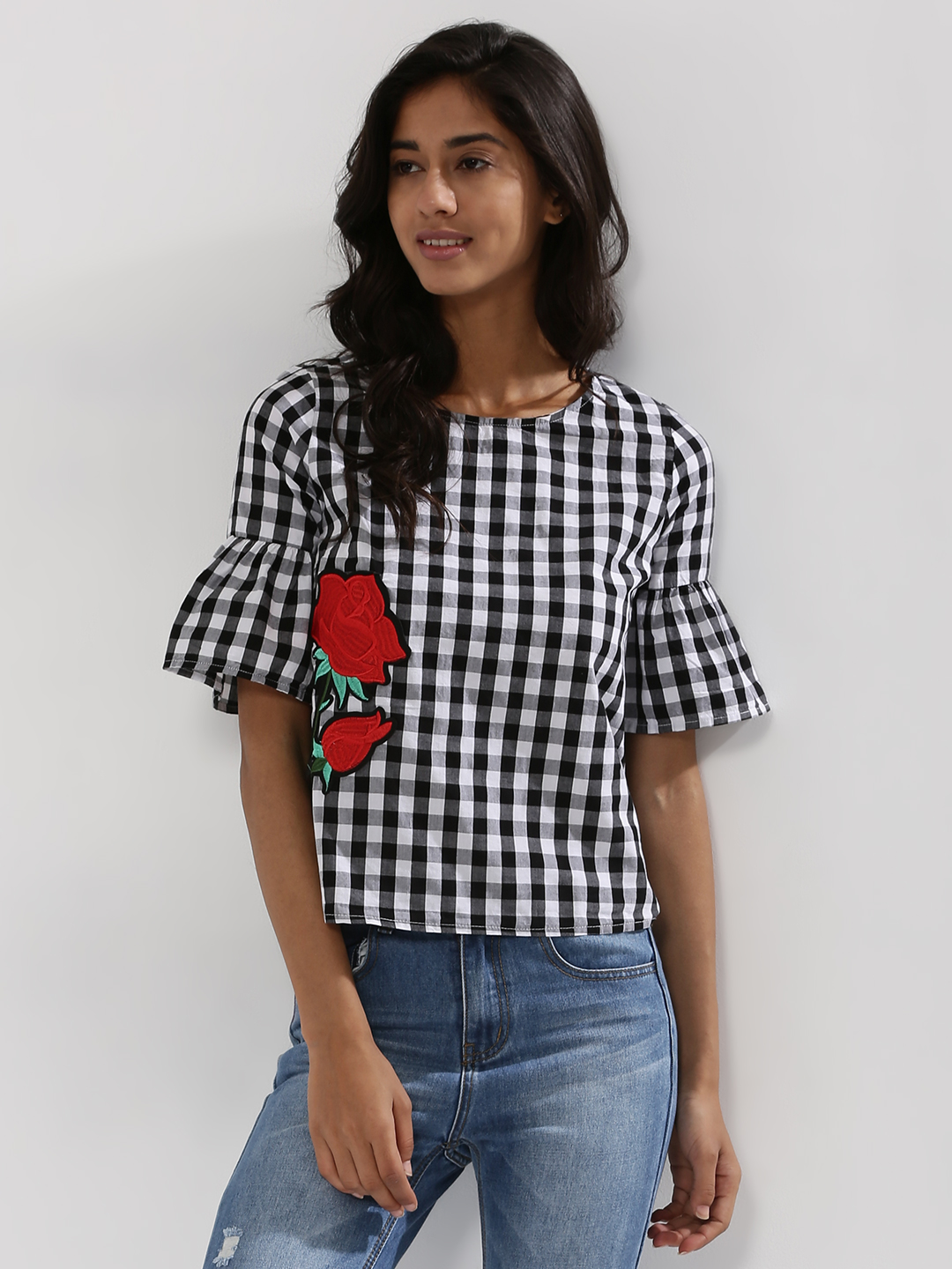 Evah London Multi Gingham Bell Sleeve Top With Patch Detail 1