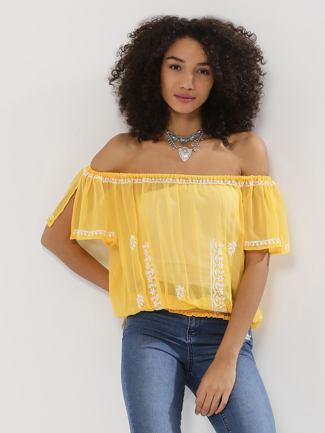 Noble Faith Yellow Embroidered Sheer Off Shoulder Top 1