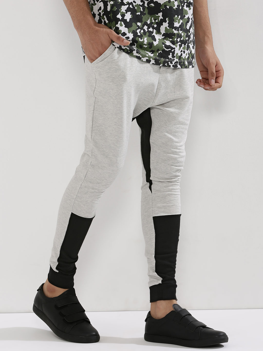 Fighting Fame Grey Melange Drop Crotch Cut And Sew Panel Joggers 1