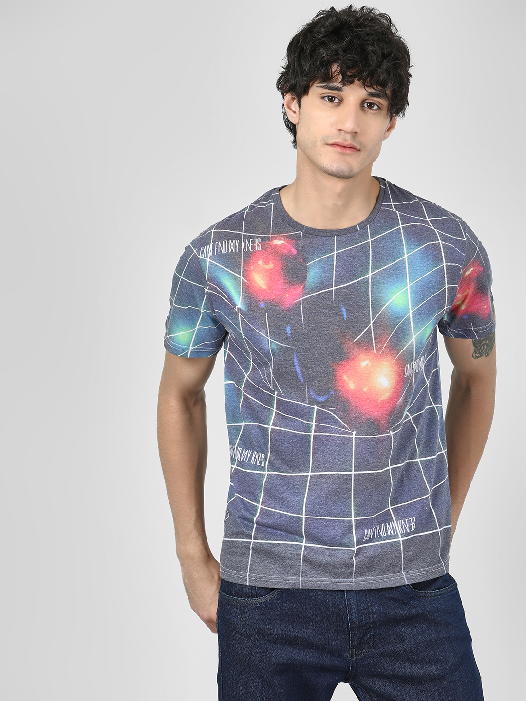 Cant Find My Knees Multi Relativity Warp Sublimation Print T-Shirt 1