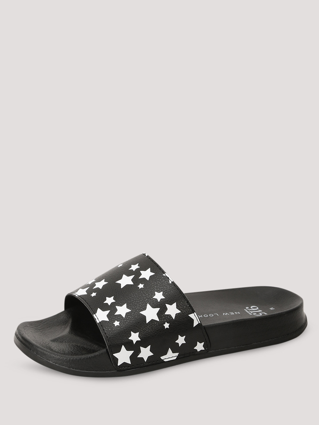 New Look Black Star Print Sliders 1