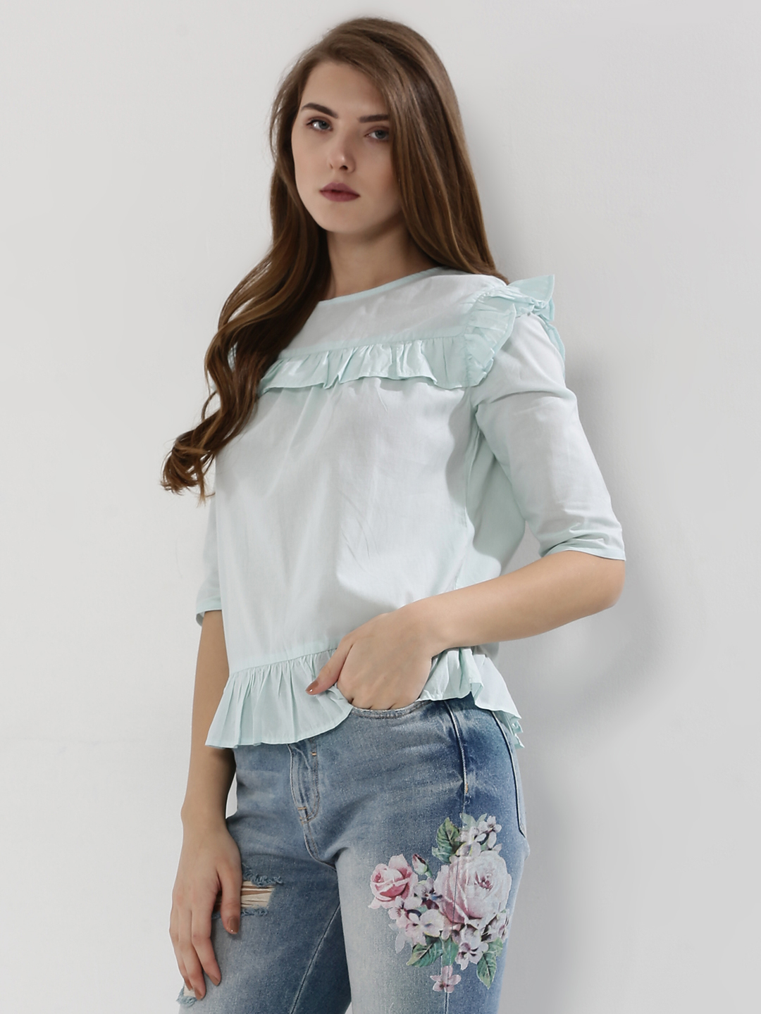 Femella Ice Blue Frill Detail Top 1
