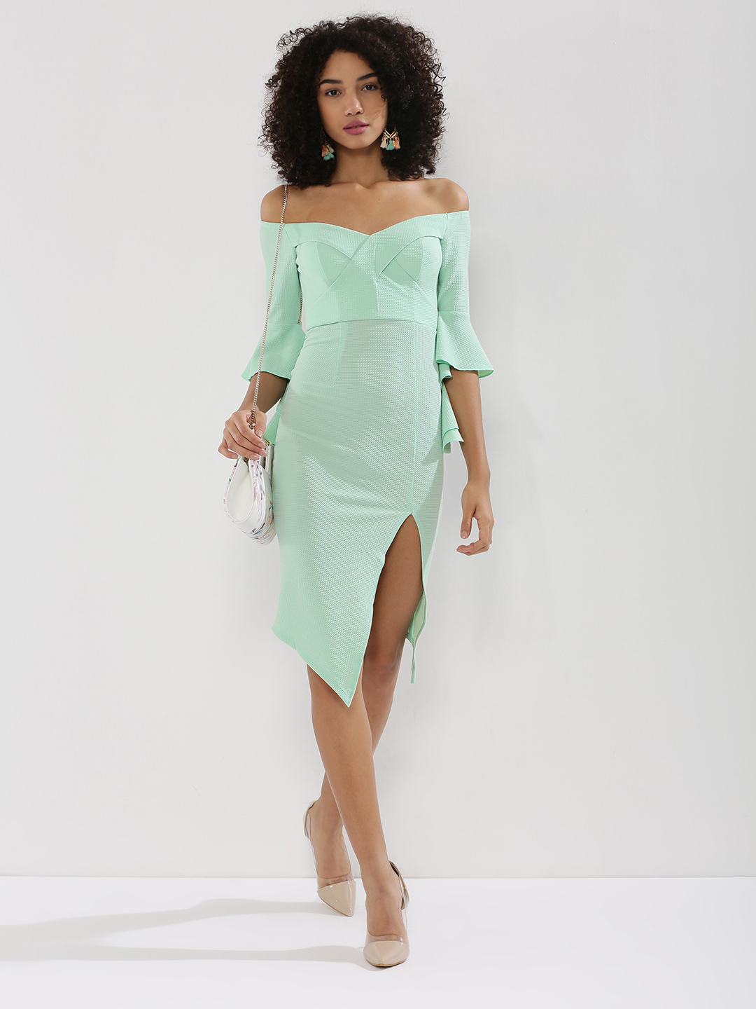 Ginger Fizz Green Asymmetric Hem Off-Shoulder Dress 1