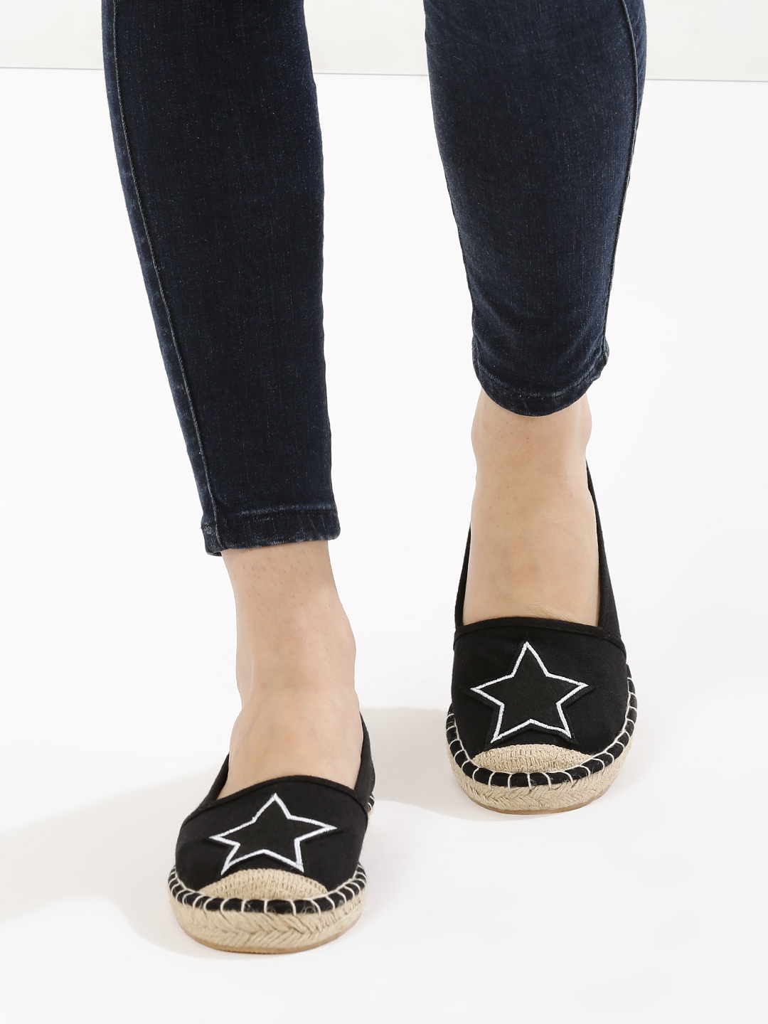 New Look Black Star Embroidered Espadrilles Shoes 1