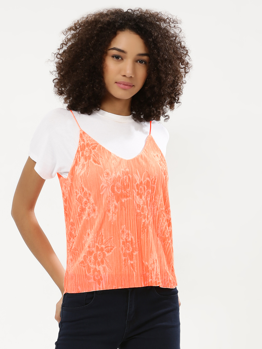 New Look Coral Neon Print Plisse Cami 1