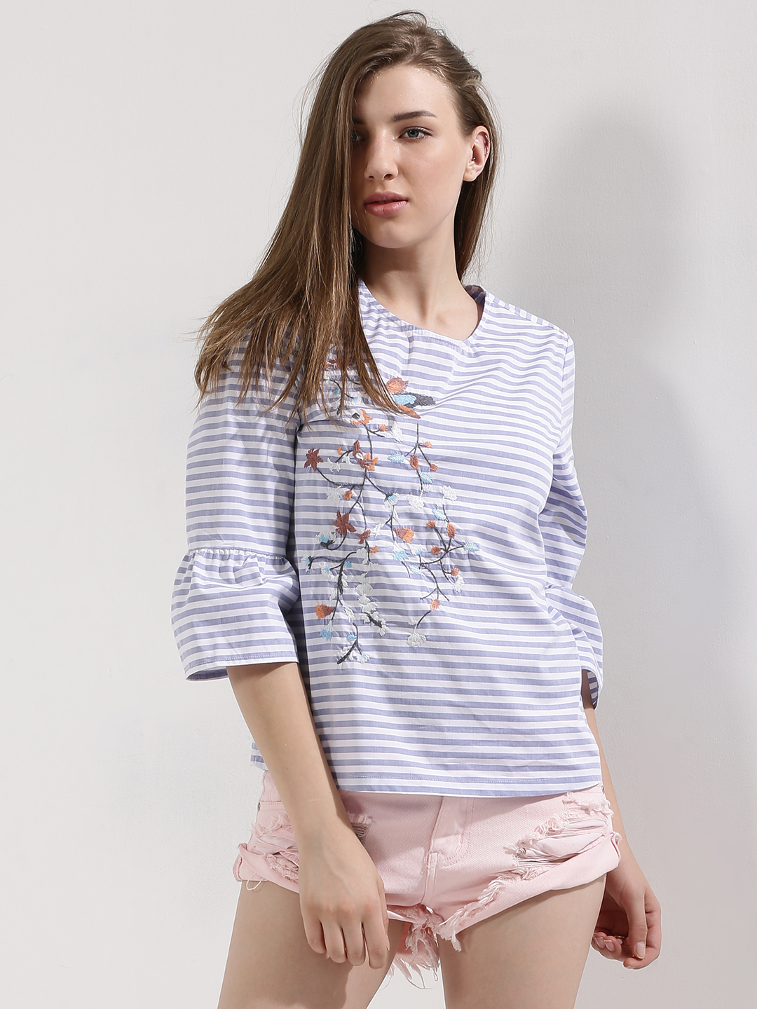 PostFold Blue Embroidered Frill Top 1