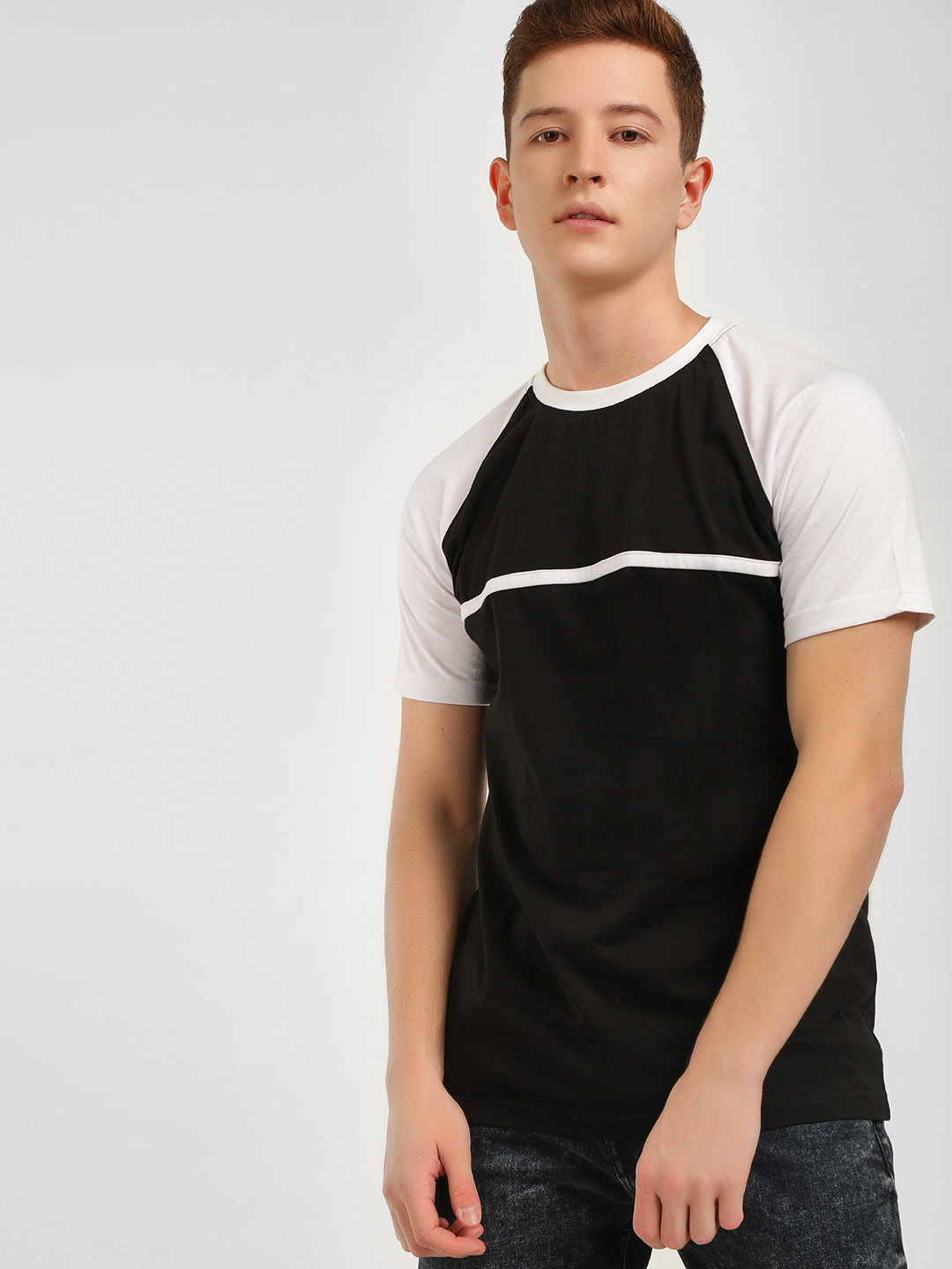 Blotch WHITE/BLACK Colour Block Raglan Sleeve T-Shirt 1