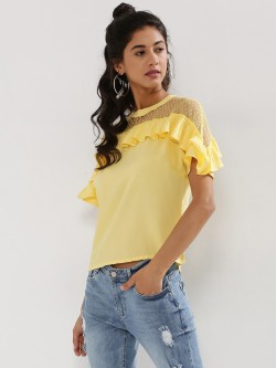 Beyond Clouds Ruffle Detail Top With Mesh Yoke