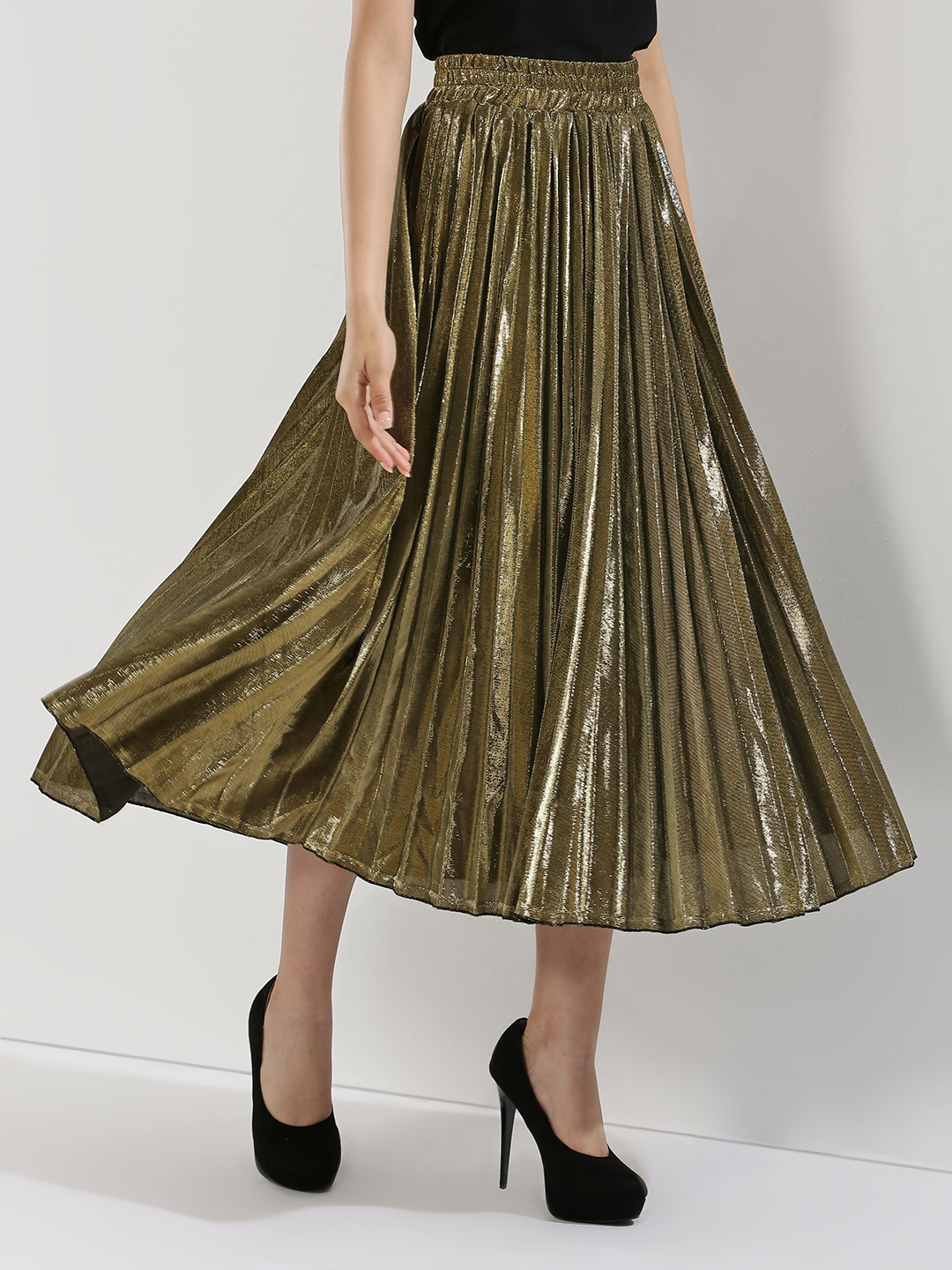 Origami Lily Copper Metallic Pleated Skirt 1
