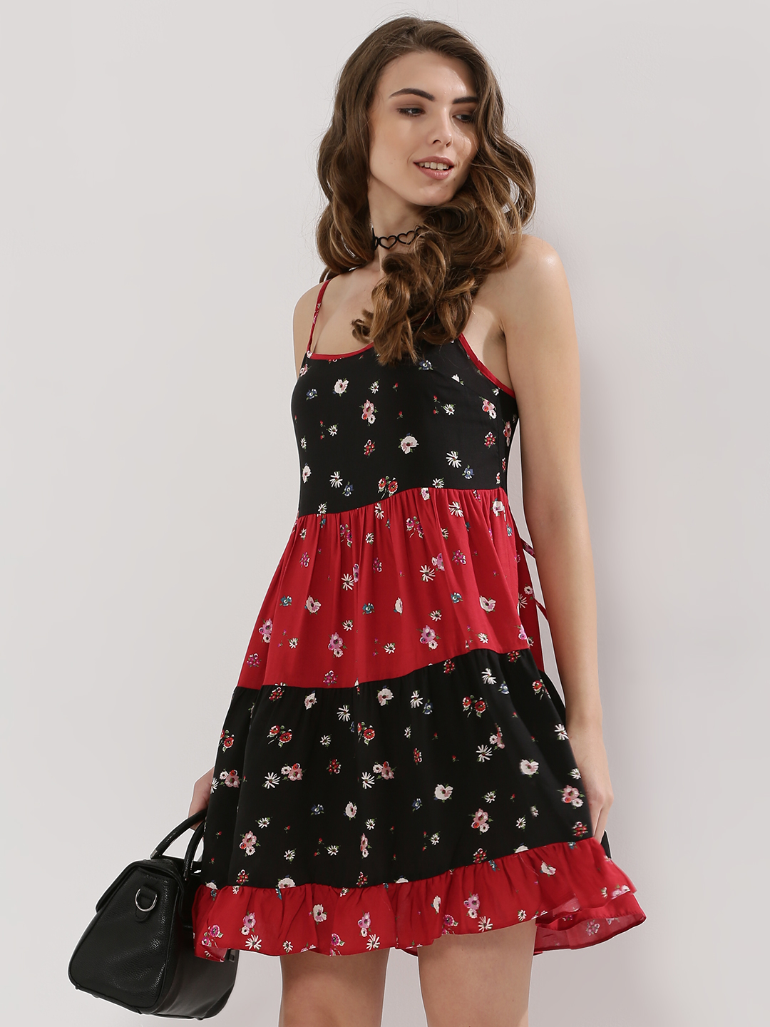 Nobody's Child Red Printed Tie Back Dress 1