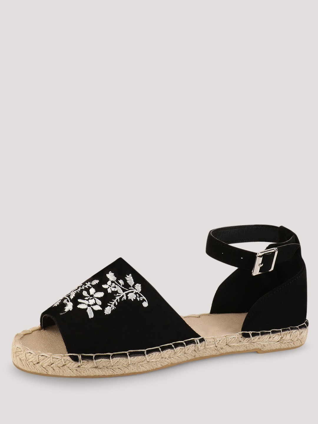New Look Black Floral Embroidered Espadrilles 1