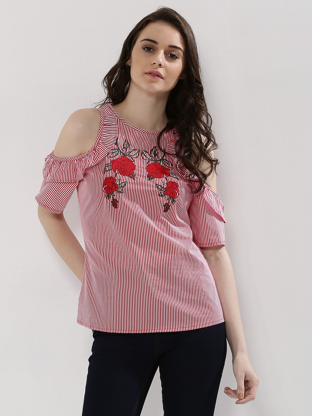 New Look Red Floral Embroidered Stripe Cold Shoulder Top 1