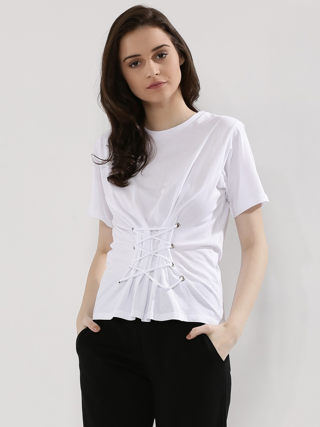 New Look White Lace Up Corset T-Shirt 1