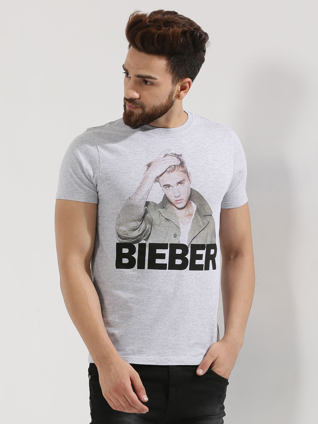 Only & Sons Grey Limited Edition Justin Bieber T-Shirt 1