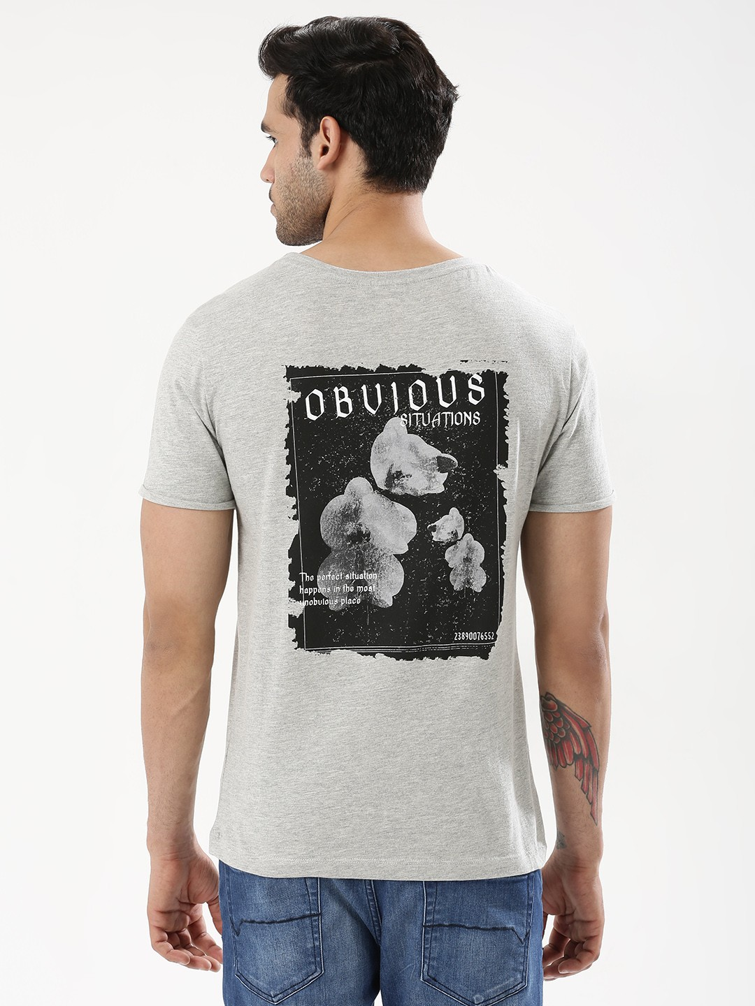 KOOVS Grey Printed T-Shirt 1
