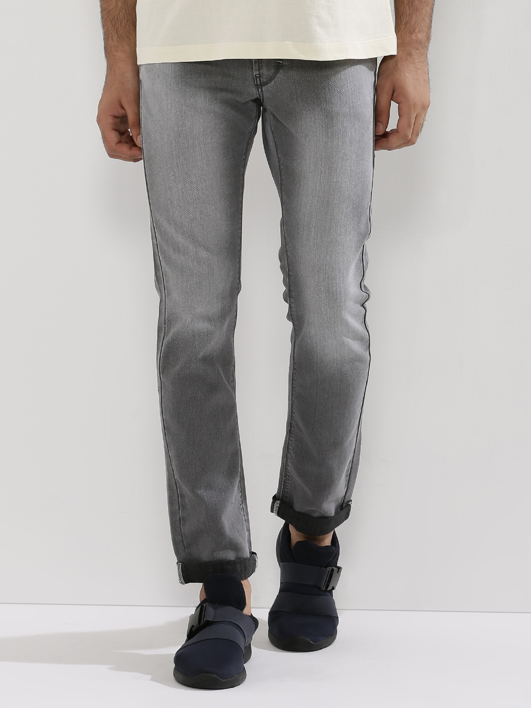 Flying Machine Grey Washed Michael Slim Tapered Jeans 1