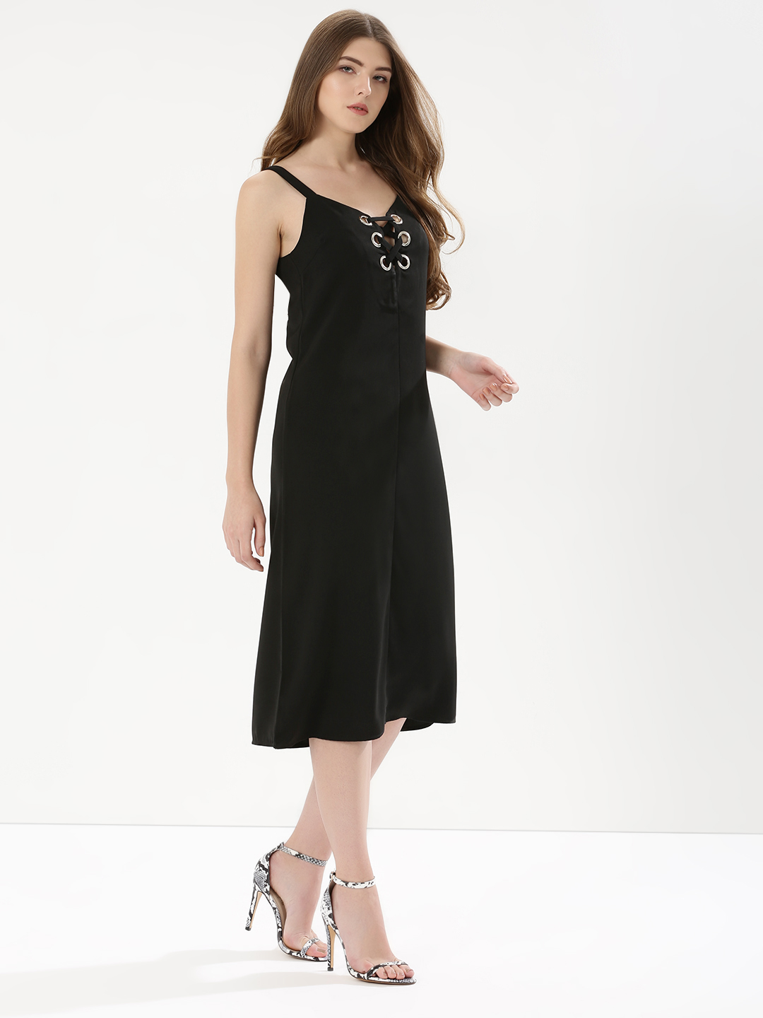 Glamorous Black Eyelet Tie Up Detail Dress 1