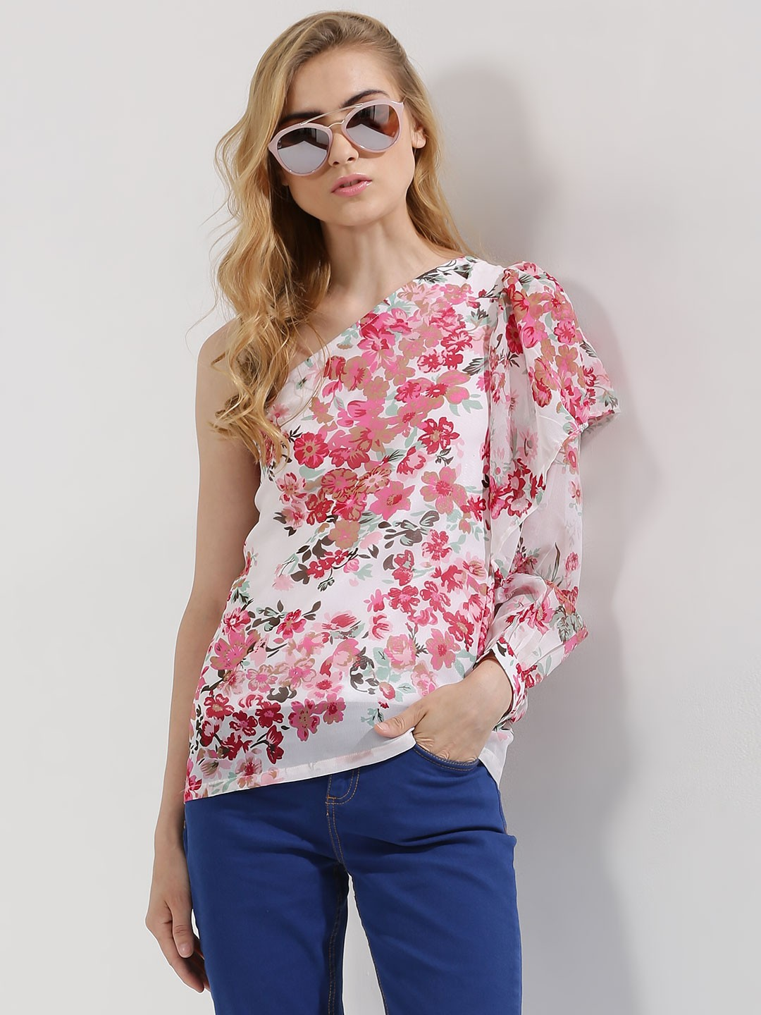 Closet Drama Print One Shoulder Floral Top 1