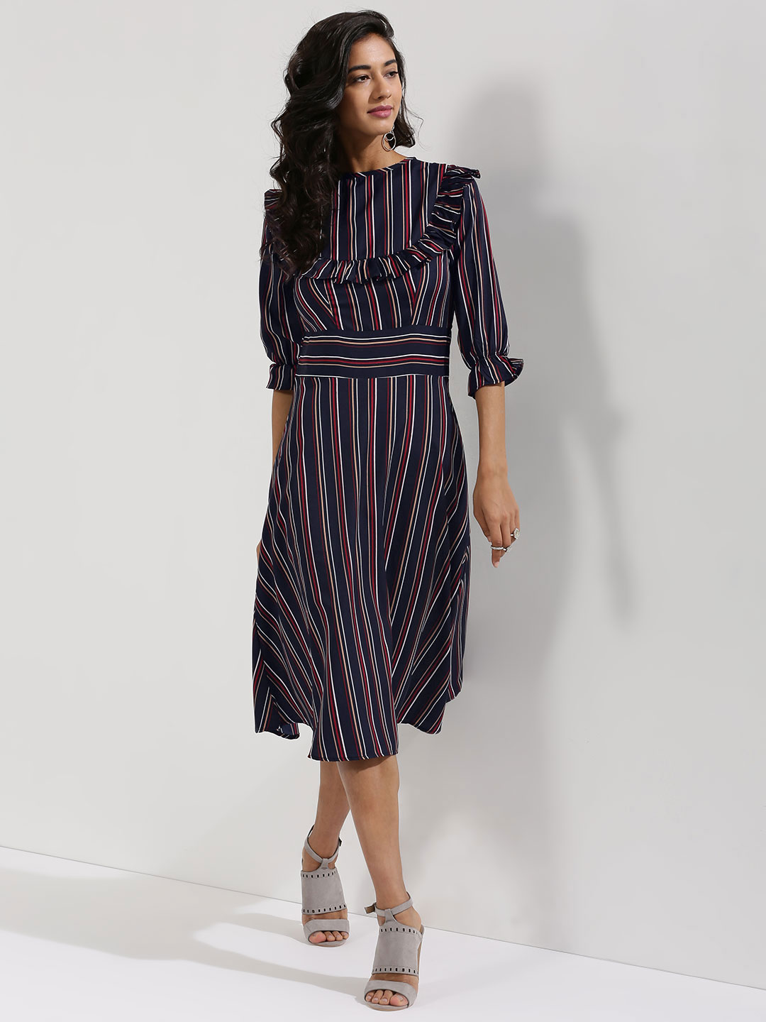 Closet Drama Navy Striped Midi Dress With Frill Detail 1