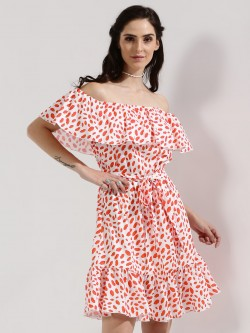 DANIELLA HELAYEL X KOOVS EXCLUSIVE PRINT Ruffle Cold Shoulder Dress