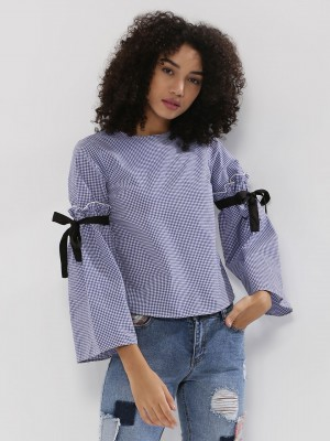 RIDRESS Checkered Top With Tie...