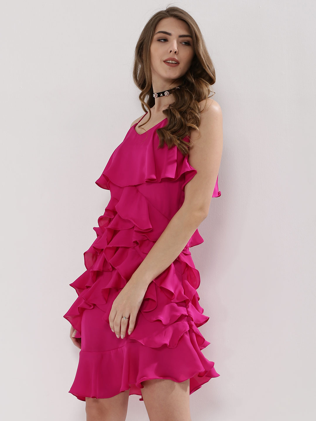 Cover Story Pink Strappy Ruffle Dress 1