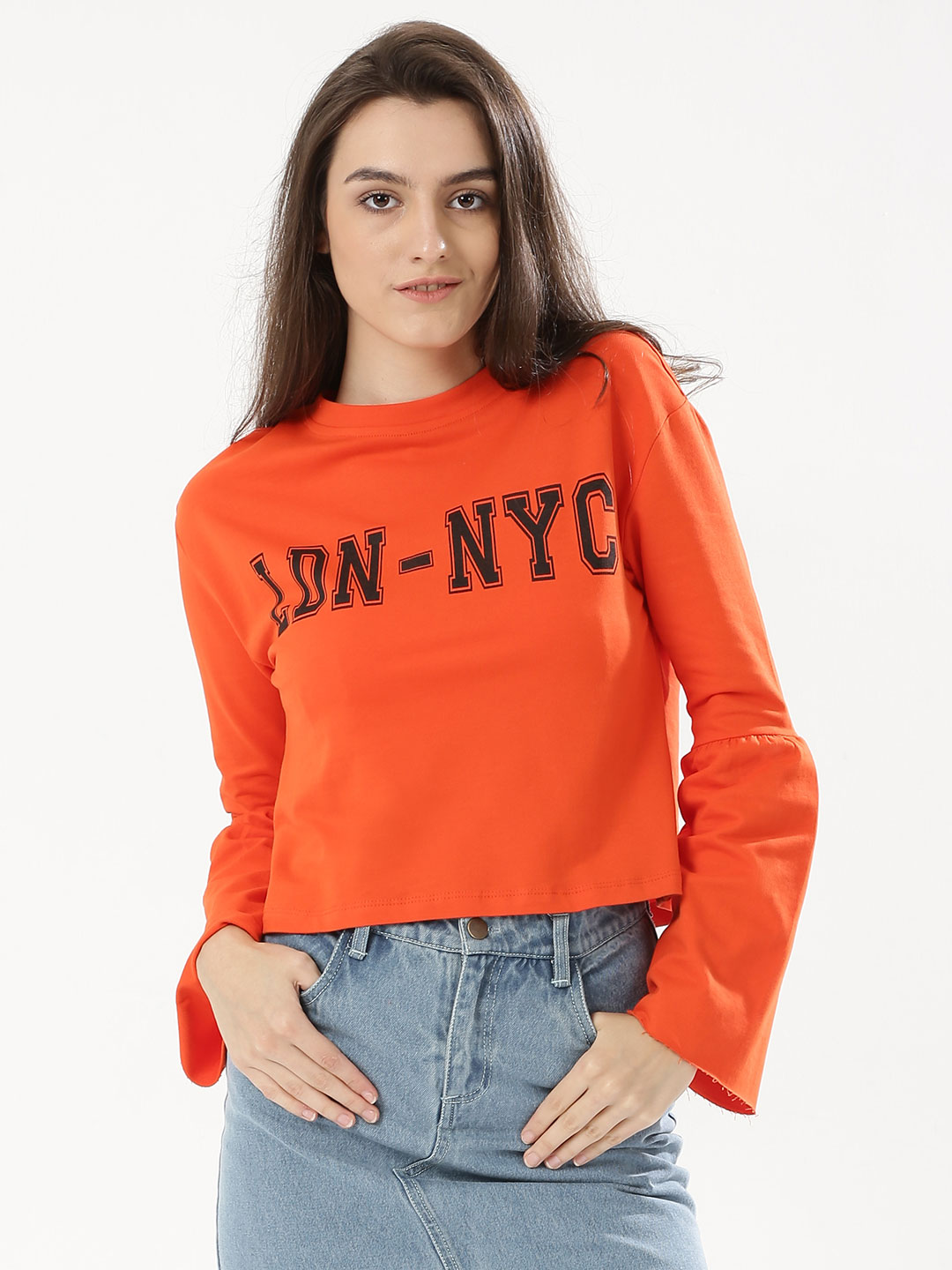 KOOVS Orange Printed Trumpet Sleeve Sweatshirt 1