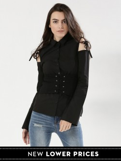KOOVS Split Shoulder Shirt With Corset Belt