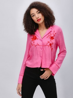 KOOVS Embroidered Pyjama Style Shirt