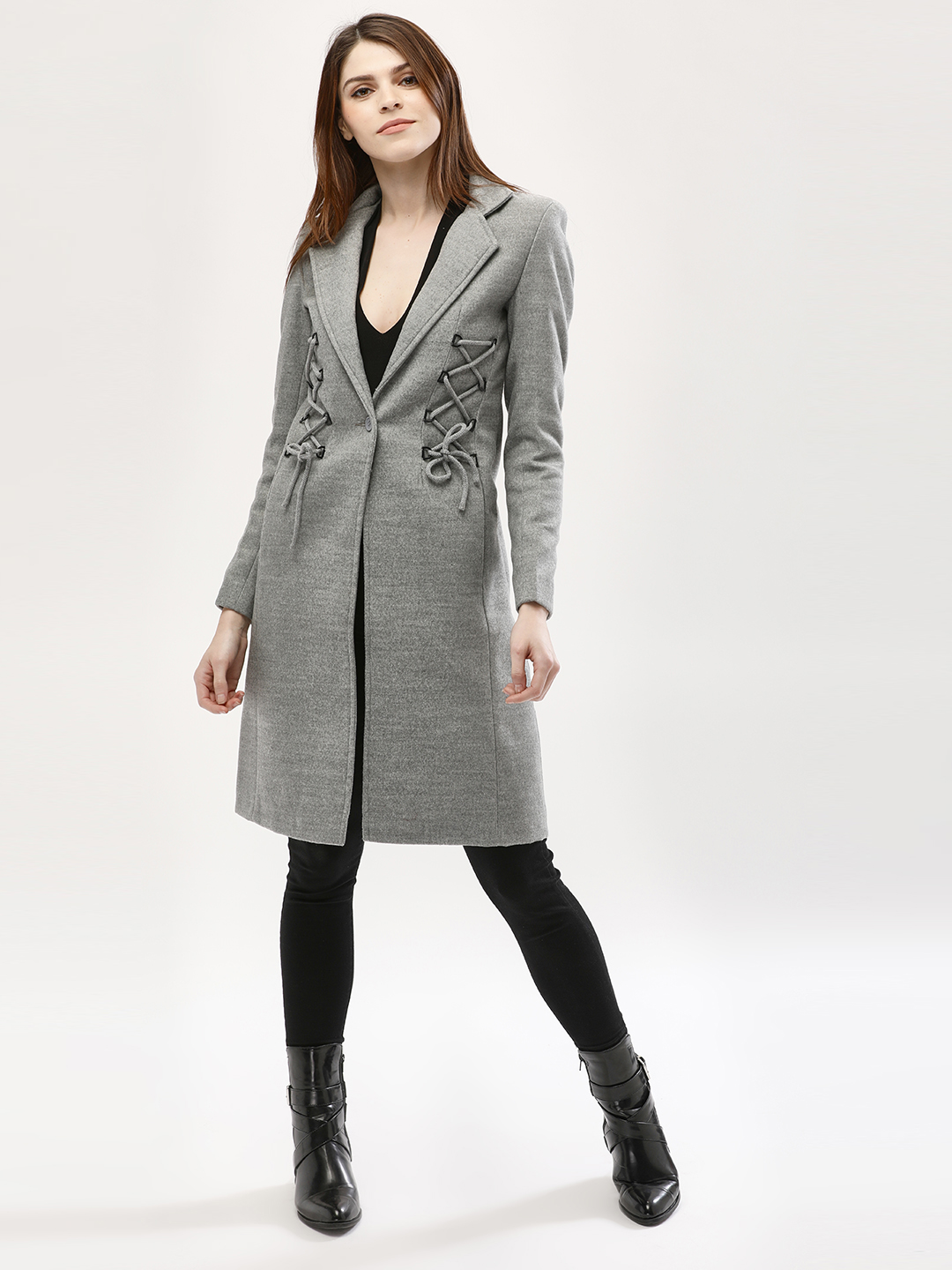KOOVS Grey Corset Coat With Lace Detail 1