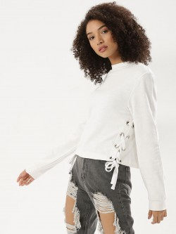 KOOVS Laced Up Side Sweatshirt