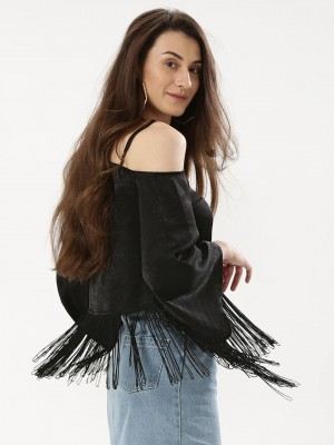 KOOVS Asymmetric Fringe Top...
