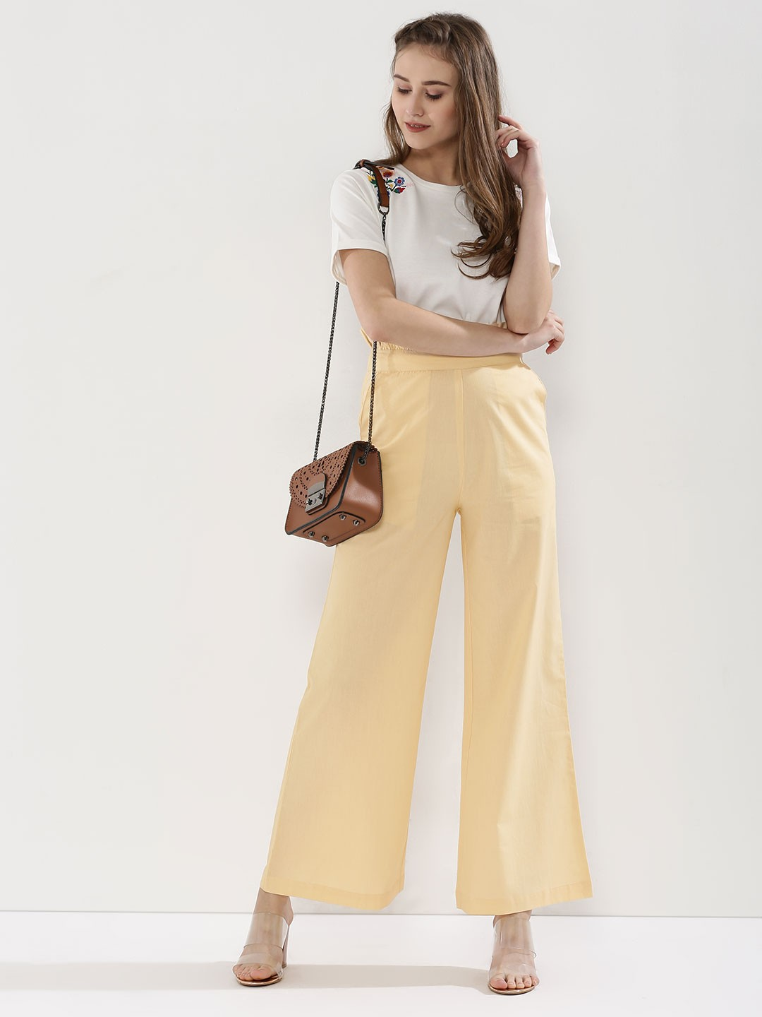 KOOVS Brown Paper Bag Waist Wide Leg Trousers 1