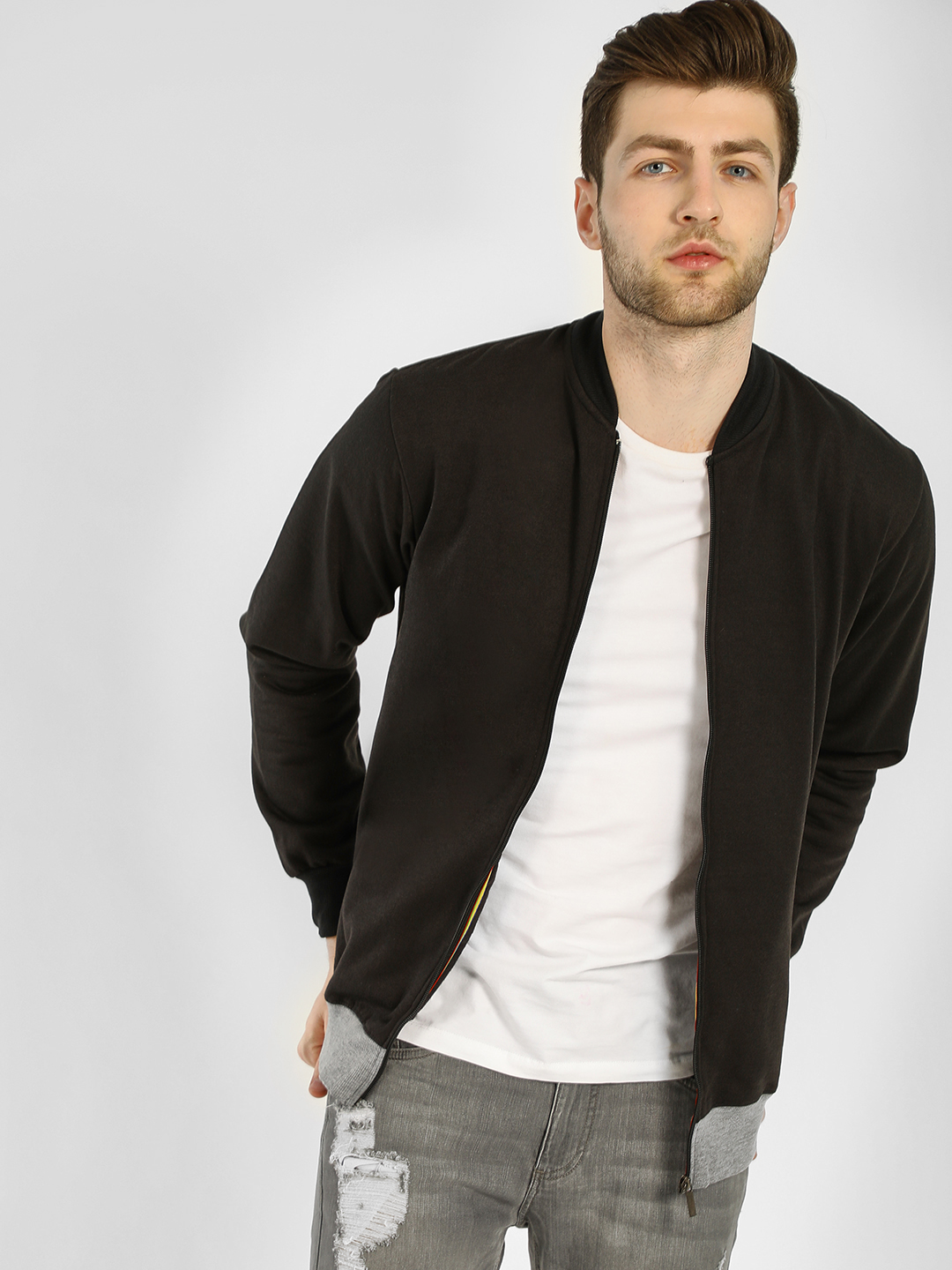 Blotch Black Bomber Jacket With Contrast Rib 1