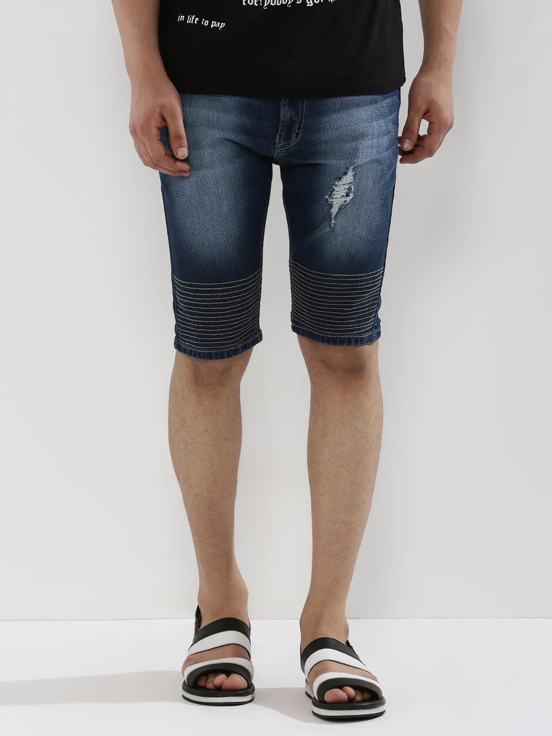 Deezeno Blue Light Wash Distressed Denim Shorts 1