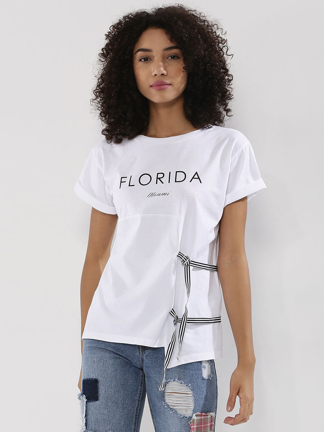 Beyond Clouds White Side Tie Up Slogan Printed T-Shirt 1