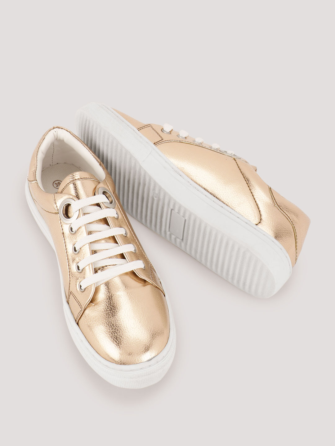 KOOVS Gold Lace Up Shoes 1