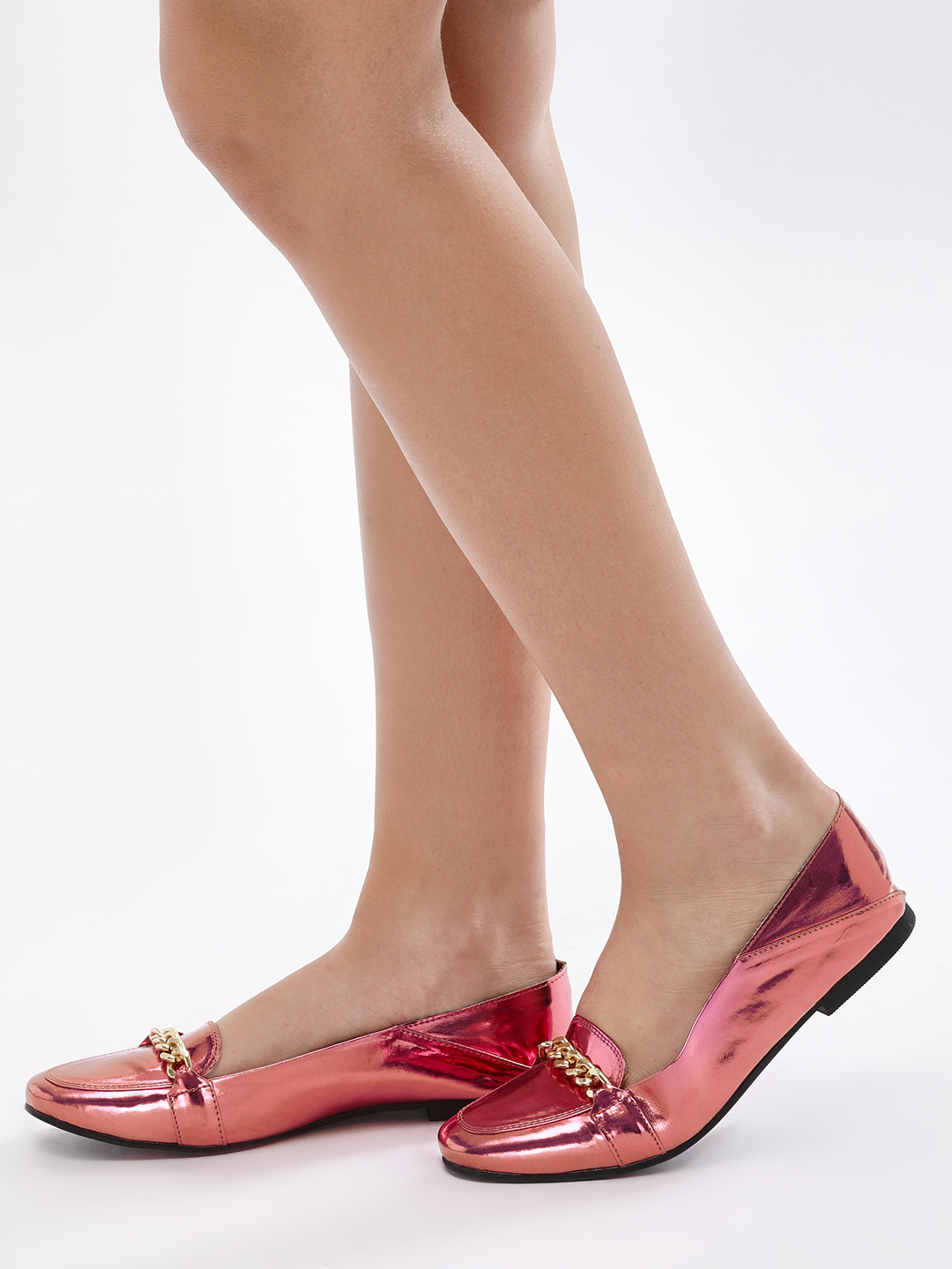 KOOVS Pink Chain Detail Square Toe Loafers 1