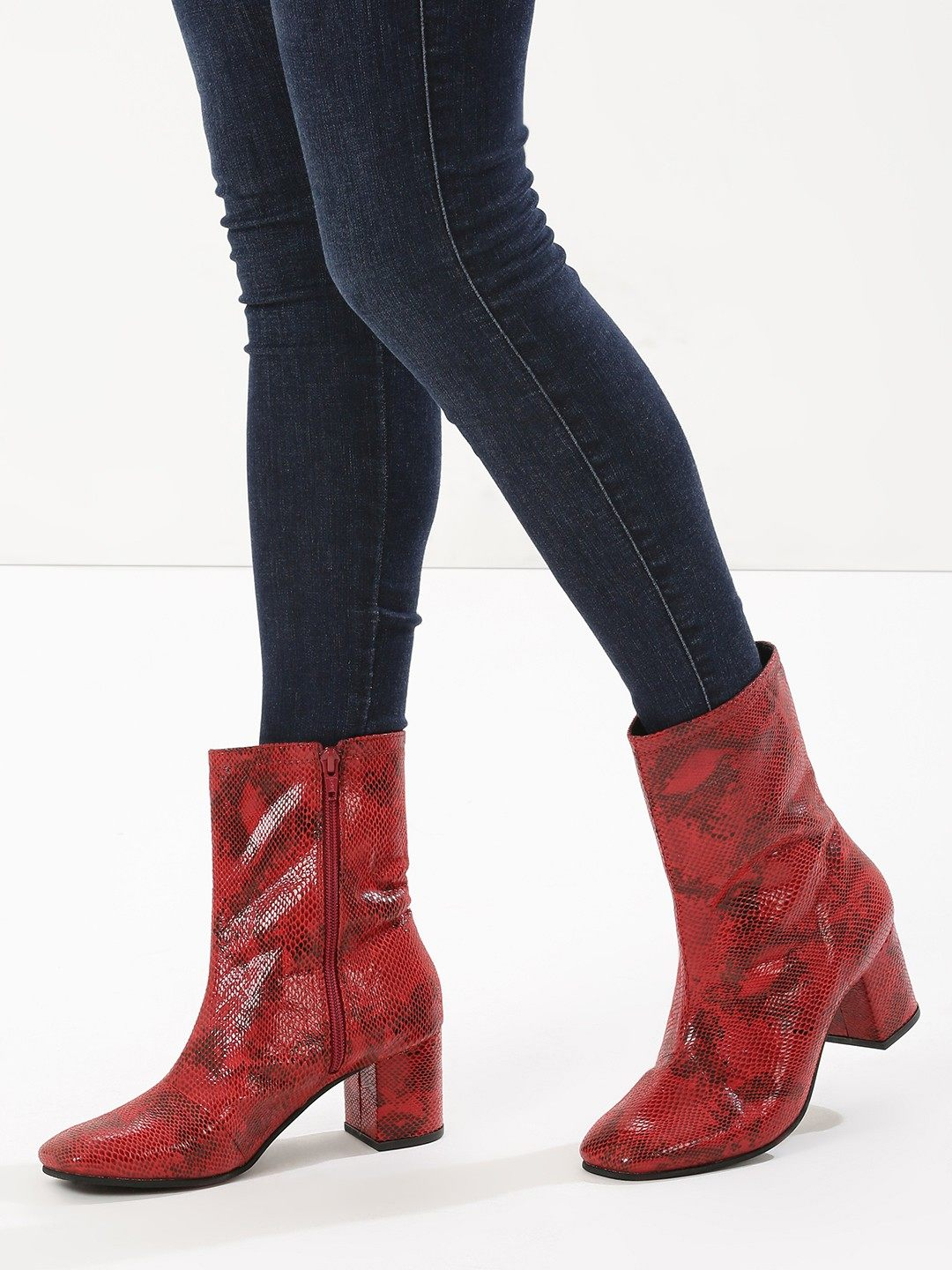 KOOVS Red Square Toe Block Heel Boots 1
