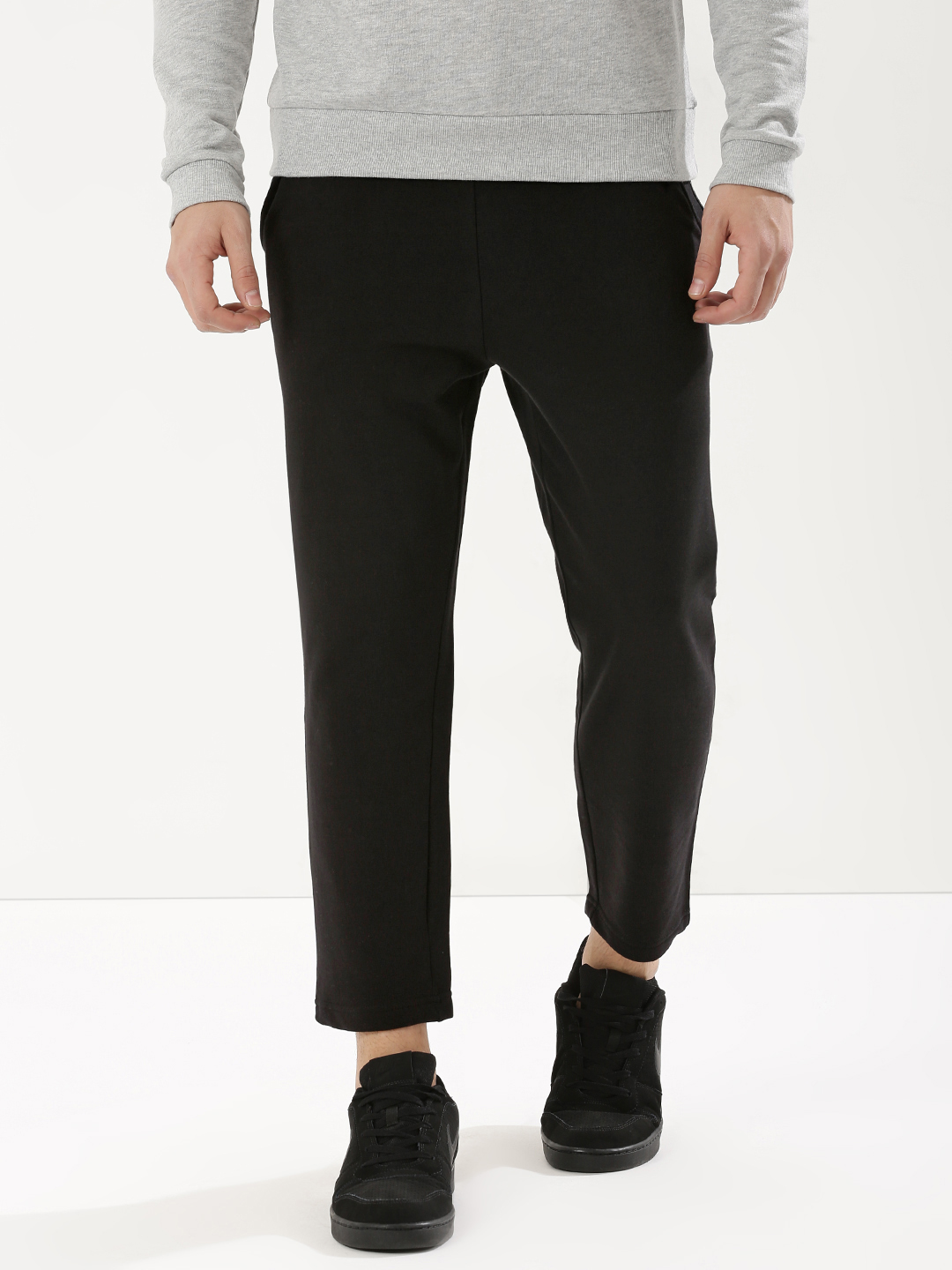 KOOVS Black Knitted Cropped Joggers With Zipper Detailing 1