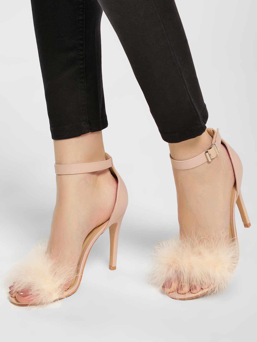 Truffle Collection Nude Furry Heeled Sandals 1