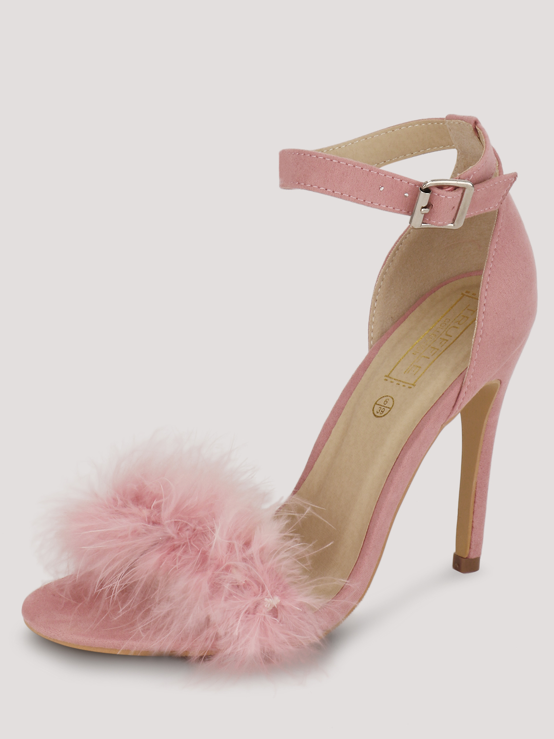 Truffle Collection Pastel pink Furry Heeled Sandals 1