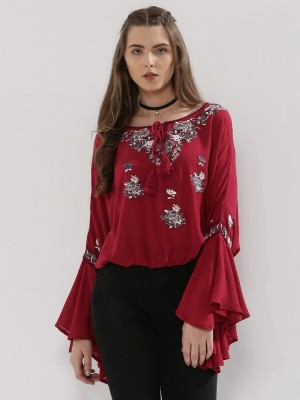BLUE SEQUIN Blouse With Embroi...