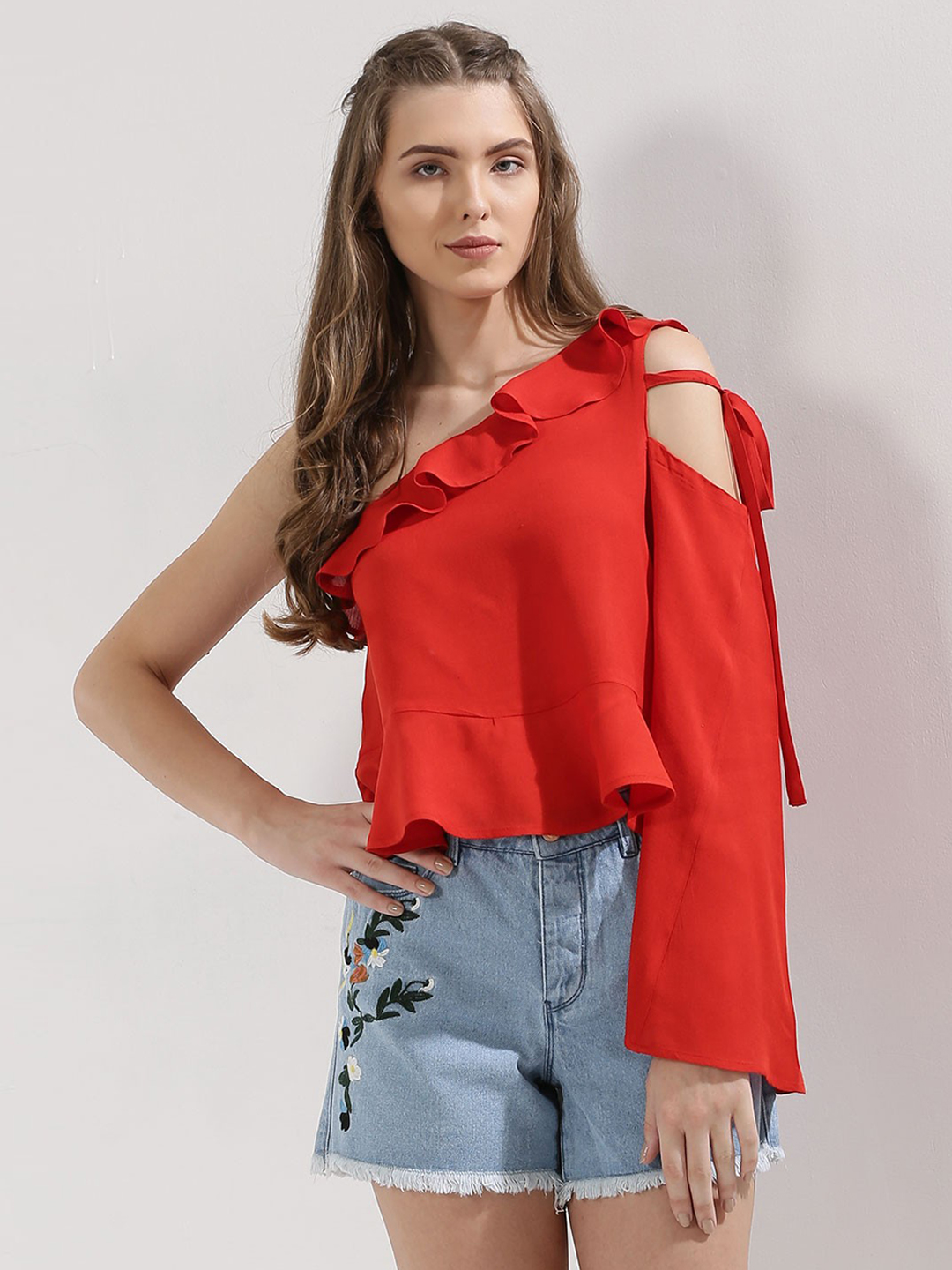 Blue Sequin Red One Shoulder Top With Ruffle Detail 1