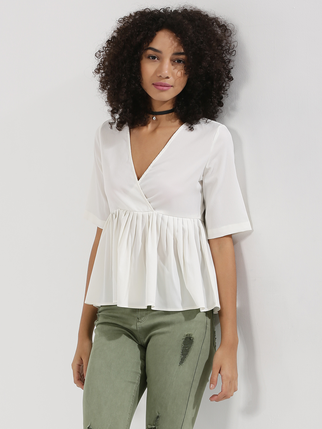 Blue Saint White Wrap Top With Tie Up Detail 1
