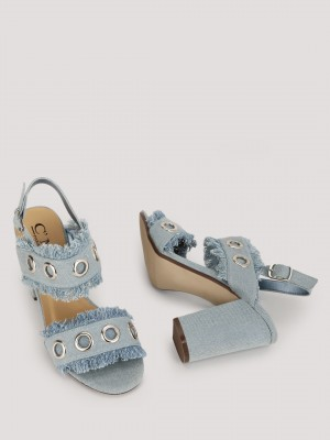 NO DOUBT Denim Heels With Eyel...