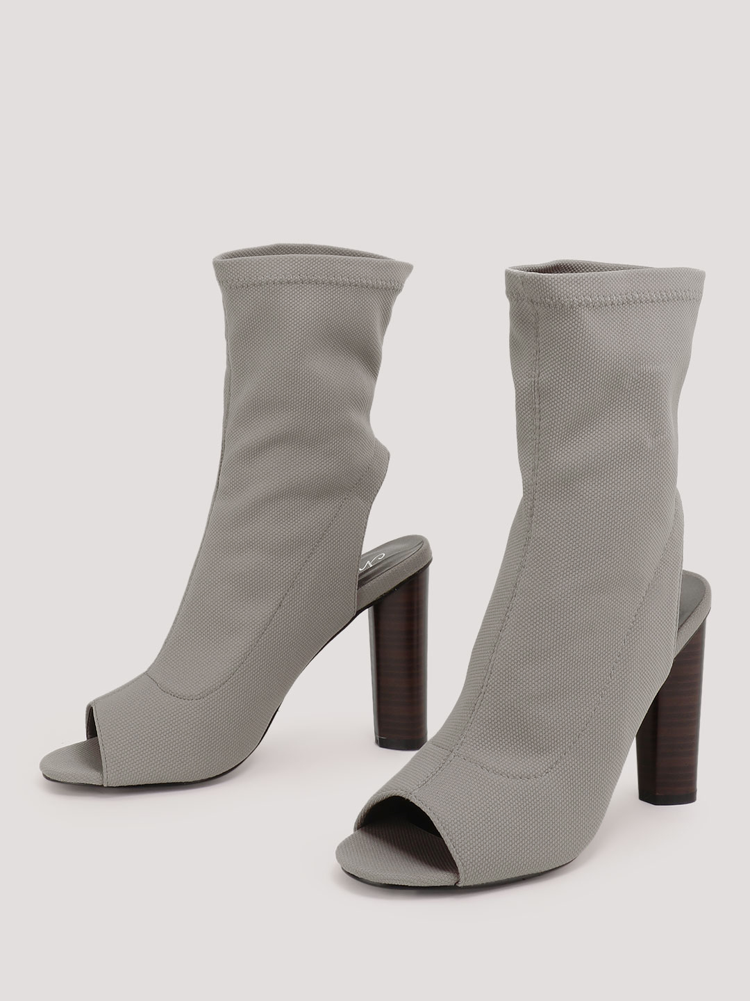 No Doubt Grey Knit Sock Fit High Ankle Boots 1