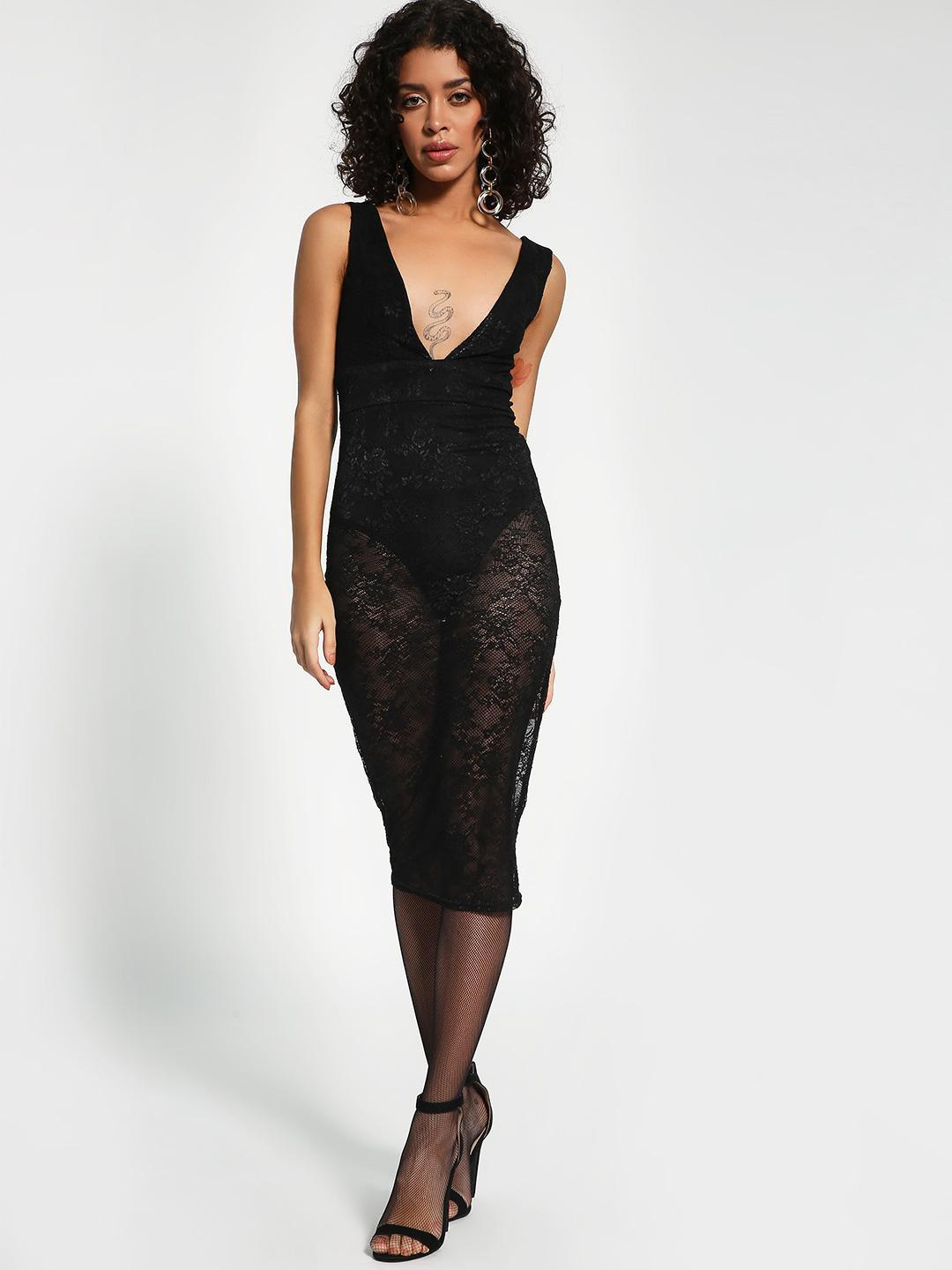New Look Black Lace Insert Bodycon Dress 1