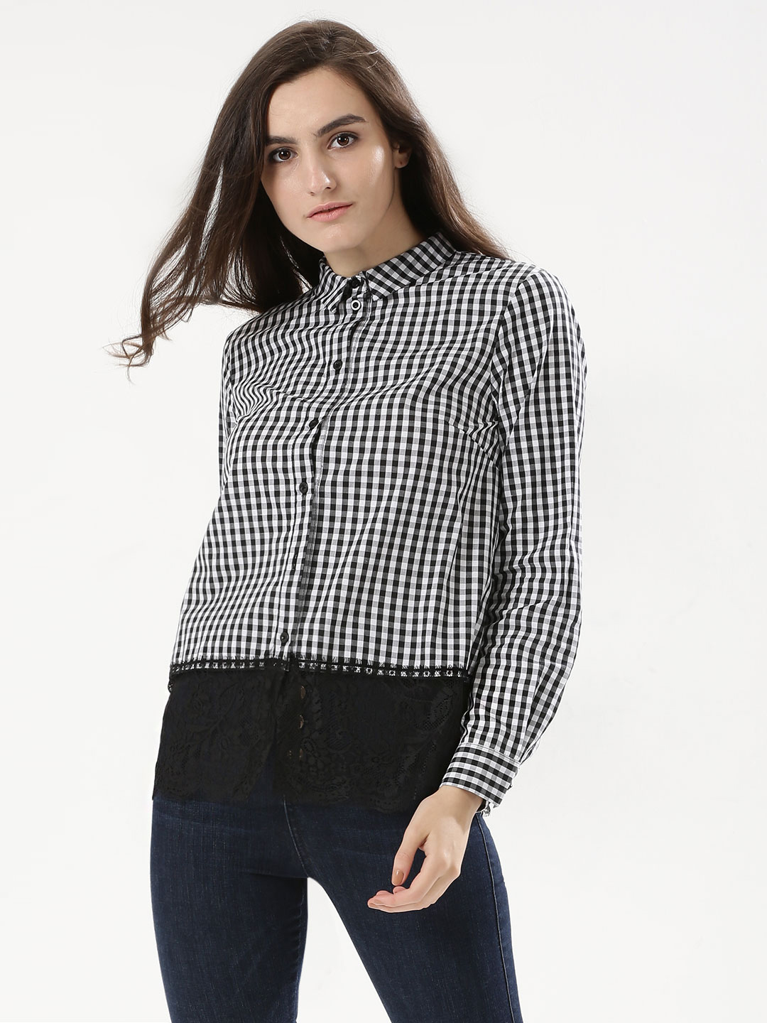 Girls On Film CHECK Gingham Shirt With Lace Hem 1