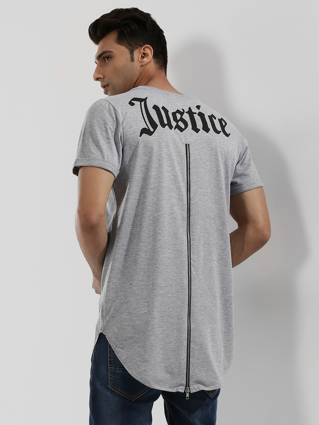 Spring Break Grey Back Print T-Shirt With Extreme Zip 1